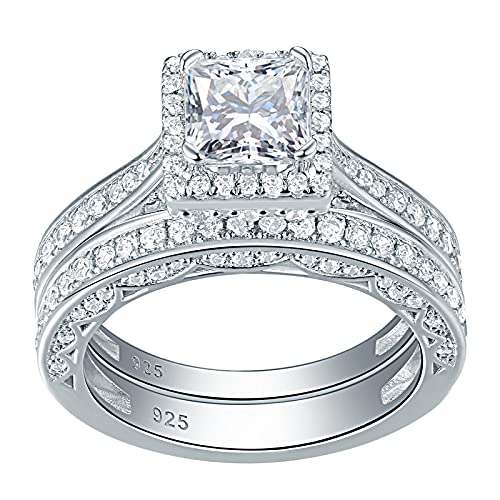 SHELOVES Engagement Wedding Rings Set for Women 925 Sterling Silver Princess White AAA CZ Size N