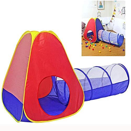 LITI 2tlg. Kinderspielzelt mit Tunnel Bällezelt Bällebad pop up Kinderzelt Spielzelt mit Tasche für drinnen und draußen Bällezelte Bälle Zelte Zelte