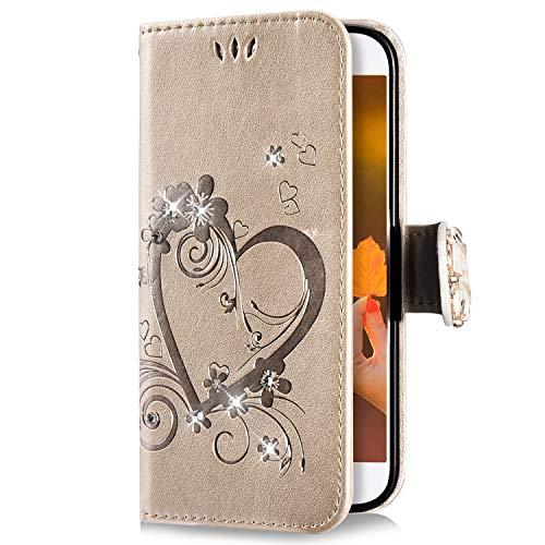 Uposao Kompatibel mit Huawei Honor 7A Handyhülle Schmetterling Liebe Blumen Muster Diamant Bling Glitzer Strass Schutzhülle Flip Case Handytasche Wallet Hülle Bookstyle Klapphülle,Gold