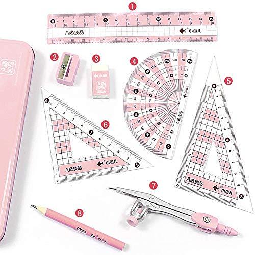 8 Teiliger Geometrie Kompass Setschul, Zeichnen Lineal Set Kompass, Mathe Geometrie Set, für Kinder und Erwachsene, Ideal für Den Einsatz In Der Schule, Holzbearbeitung