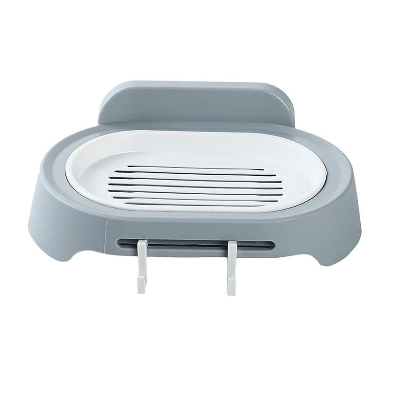 四面体子猫詐欺ZALING 灰色のホックが付いているの浴室の石鹸の貯蔵の吸引の壁に取り付けられた石鹸のオルガナイザー