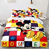 Haonsy 3 Pieces Kids Boys Mickey Minnie Mouse Bedding Set Full Size Mickey Minnie Cartoon Duvet Cover Comforter Set 1 Duvet Cover 2 Pillowcase,No Comforter