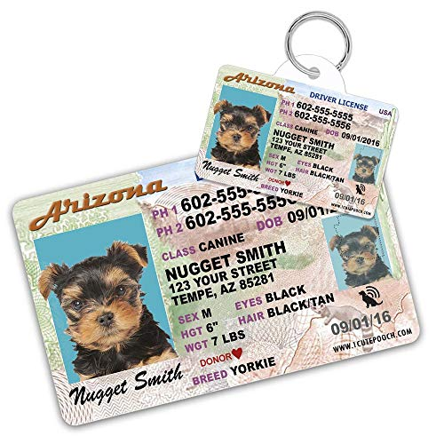1 Cute Pooch Arizona Driver License Custom Dog Tag for Pets and Wallet Card - Personalized Pet ID Tags - Dog Tags for Dogs - Dog ID Tag - Personalized Dog ID Tags - Cat ID Tags - Pet ID Tags for Cats