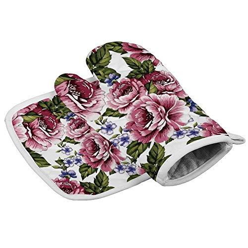 shotngwu Guantes de horno resistentes al calor, 2 flores, peonía, color rosa, mariposas, color azul, para horno y barbacoa, con forro interior suave Lry687O66Vsr