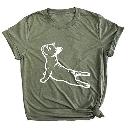 Spunky Pineapple DOGA Frenchie Yoga Pose Funny French Bull Dog Premium T-Shirt Olive