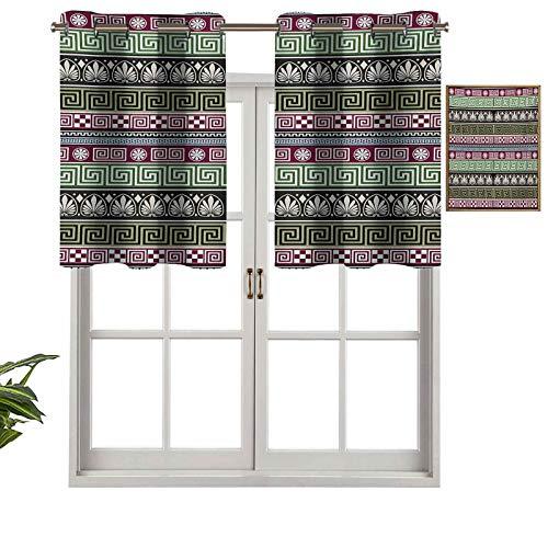 Hiiiman Cortinas opacas con ojales, diseño griego antiguo, diseño ornamental con efecto mosaico, juego de 2, cortinas de cocina de 137 x 61 cm para sala de estar