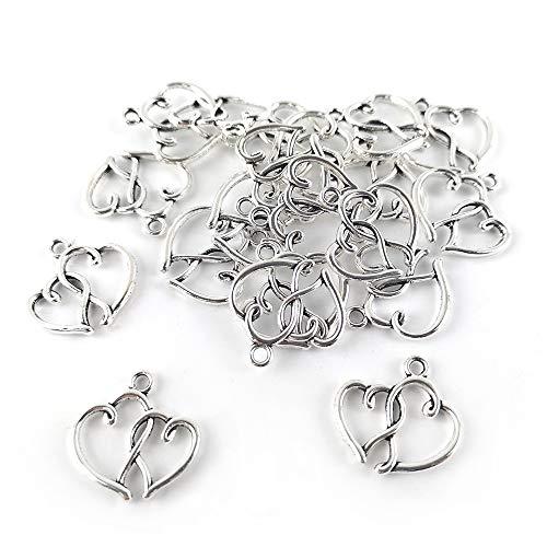 Tibetan Heart Charm Pendants Antique Silver 20mm Pack of 20