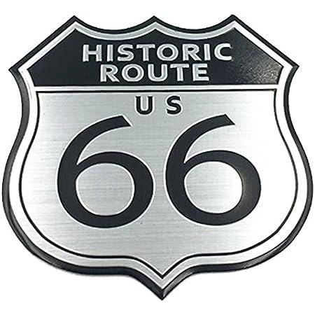 Garage Sixtysix Metall Emblem Aufkleber Historic Route 66 Auto