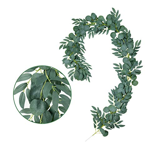 Ousuga Artificial Garland,Faux Silk Eucalyptus Vines Fake Artificial Hanging Willow Vines Twigs Garland Leaves Home Kitchen Garden Office Wedding Party Backdrop Arch Wall Decor