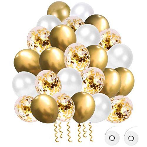 Flow.month 60 Stück Luftballons, Gold Luftballons Gold Weiß Konfetti Ballons Matellic Latex Ballons Helium Ballons für Hochzeit Mädchen Kinder Geburtstag Party Dekoration (Golden)