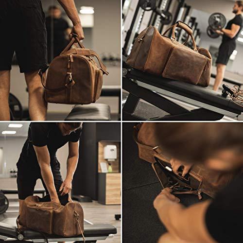 DONBOLSO Donbolso Weekender Neapel Braun - XXL Reisetasche aus Leder für Damen und Herren - Echtleder Handgepäck mit Schultergurt - 51 Liter