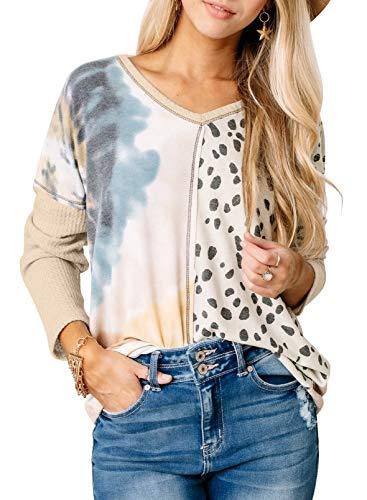 CORAFRITZ Blusa ligera para mujer con estampado de leopardo, estampado de retazos, cuello en V, manga larga