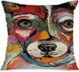 Throw Pillow Covers Case Rat Original Colorful Terrier Face Pop Style Dog Little Nose Animals Green Wildlife Pink Orange Square Decorative Cushion Covers for Sofa Bed Home Decoration 16x16 Inch