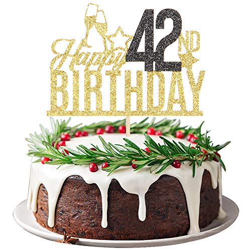 Happy 42nd Birthday Cake Topper - Forty two-year-old Cake Topper, 42nd Birthday Cake Decoration, 42nd Birthday Party Decoration (Gold and Black)