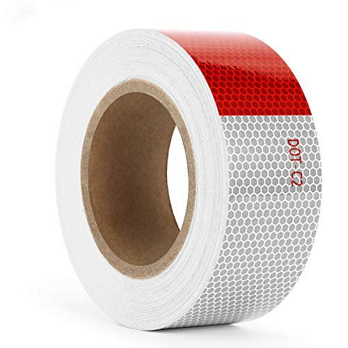 Kohree Reflective Tape 2 inches x 30ft Reflective Safety, DOT C2 Red White Waterproof Reflector Tape for Trailers, RV, Camper, Boat