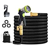 Expandable Garden Hose 50ft, Ligthweight Garden Hose with 8 Way Metal Sprayer, Adjustable Garden Hose with 3-Layers Latex Core, 3/4' Solid Brass Fittings, Premium 37502D Fabric