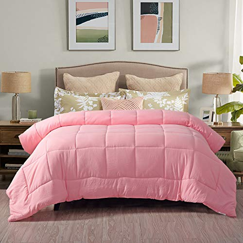 Evolive All Season Pre Washed Soft Microfiber White Goose Down Alternative Comforter (Pink, Full/Queen)