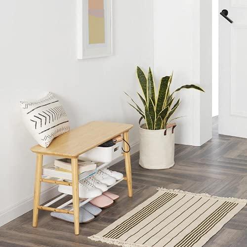 Lzcaure Bastidores de bambú multifunción del almacenamiento del zapato del banco del zapato del cuarto de baño de la sala de estar del pasillo