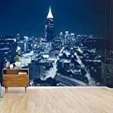 Kanworse Night Skyline Atlanta Canvas Print Wallpaper Wall Mural Self Adhesive Peel & Stick Wallpaper Home Craft Wall Decal Wall Poster Sticker for Living Room
