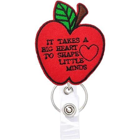 Nursing Badge Red Apple Felt Badge Name Badge Holder Teacher Badge Reel Teacher Badge Holder Retractable ID Badge Reel