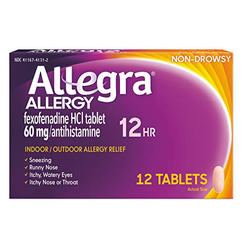 Allegra Adult Non-Drowsy Antihistamine Tablets for 12-Hour Allergy Relief, 60 mg 12-Count