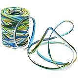 KINGLAKE - Cinta de papel de rafia multicolor, 80 m, cuerda de embalaje de papel de rafia para decoración de manualidades, envolver regalos, tejer, empaquetar, Multi-color 02