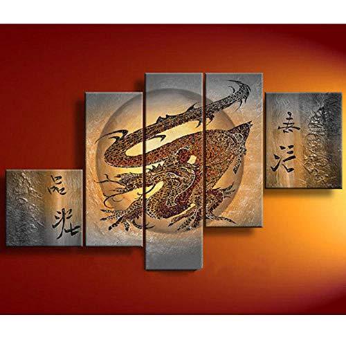 wydlb geen lijst abstracte Chinese drakenschilderij op canvas, grote 5 panelen muurschilderijen schilderijen, moderne wooncultuur kunst 30x30cm 25x60cmx2 25x80cm 30x40cm