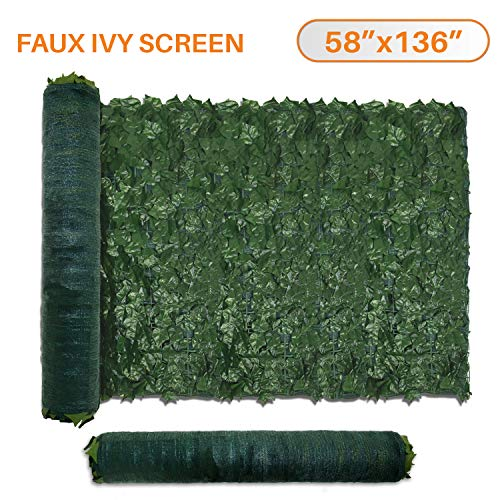 """TANG by Sunshades Depot 58"""" x 136"""" inch Artificial Faux Ivy Privacy Fence Screen Leaf Vine Decoration Panel with 130 GSM Mesh Back"""