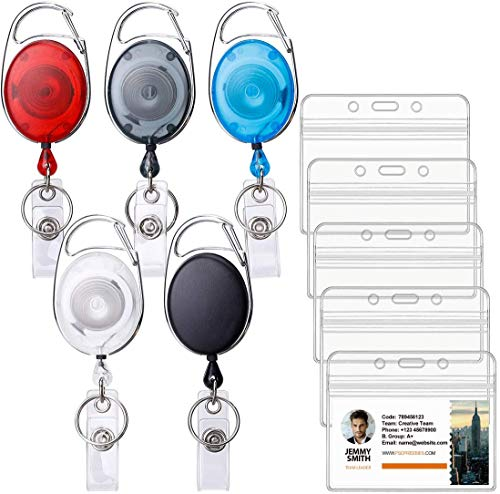 Ktrio 5 Pack Badge Holders with Badge Reels Retractable, Clear Plastic ID Card Badge Holder ID Badge Reel ID Holders for Badges Work badge Holder Name Tag Holders for Nurse, Office & Lanyard, 5 Colors