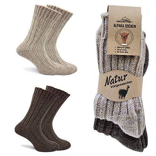 MOUNTREX Alpaka Socken, Wollsocken für Damen, Herren - Stricksocken - 90% Wolle, 10% Polyamid - 2 Paar, Beige/Braun (Dick - wie gestrickt), 43-46