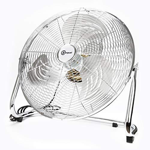 Karpal 120 Watt Turbinen-Stil boden ventilator Bodenventilator im Chrom Design,50 cm Durchmesser, 4 Laufgeschwindigkeiten,hoher Luftdurchsatz, Tragegriff,Neigungswinkel verstellbar