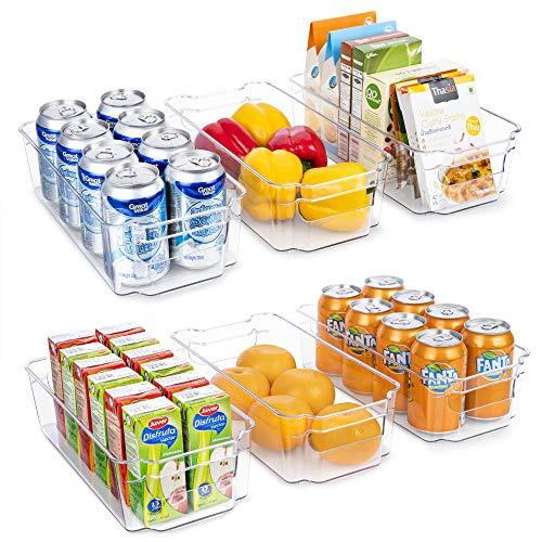 YIHONG 6 Pcs Refrigerator Organizer Bins, Clear Fridge Organizer Bins for Freezer, Cabinets, Kitchen, Pantry Organization and Storage, Plastic Food Storage Bins with Handle, 12.5'' Long