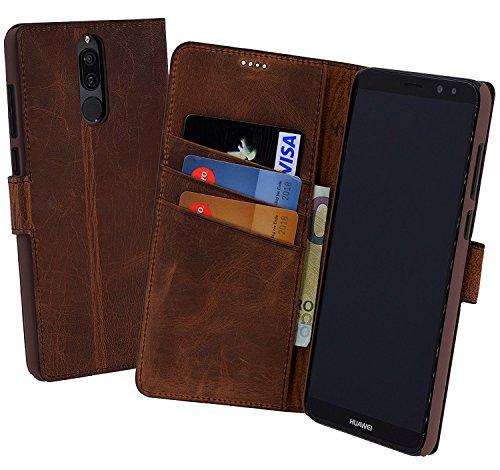 Suncase Book-Style (Slim-Fit) für Huawei Mate 10 LITE Ledertasche Leder Tasche Handytasche Schutzhülle Hülle Hülle (mit Standfunktion & Kartenfach) antik Coffee