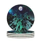 Facbalaign Set di 6 sottobicchieri in ceramica con fondo in sughero resistente ai graffi, di qualità premium, inodore, colore bianco