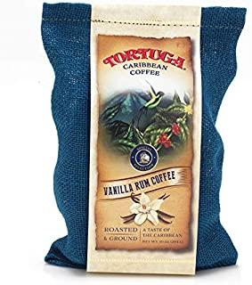 TORTUGA Caribbean Vanilla Rum Flavored Coffee- Roasted and Ground 10oz - The Perfect Premium Gourmet Gift for Gift Baskets, Parties, Holidays, and Birthdays