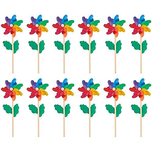 Juvale Rainbow Pinwheels (12-Pack) - Colorful Pinwheels, Great as Kids...