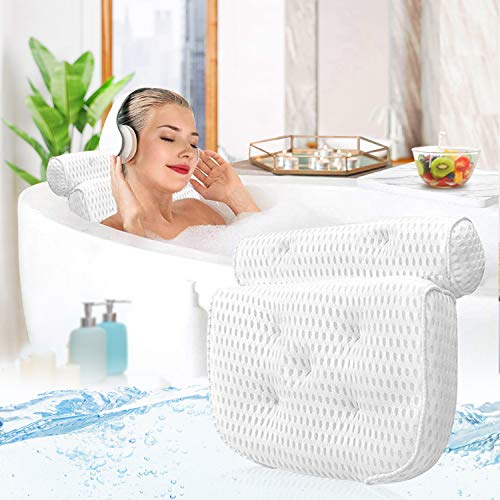 Luxury Bath Pillow Bathtub, Spa Pillow for Women Men 4D Air Mesh with 7 Suction Cups No- Slip Thick Bathtub Cushion for Head, Back and Neck Support