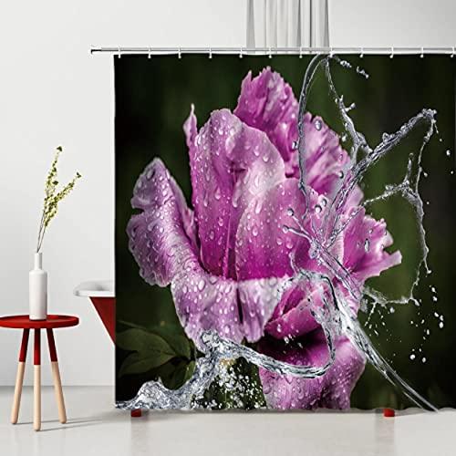 Schöne Rose Duschvorhang Pfirsichblüte Tulpe Schmetterling Wasserdicht Umweltschutz Badezimmer Dekoration