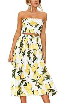 Angashion Women s Floral Crop Top Maxi Skirt Set 2 Piece Outfit Dress Lemon
