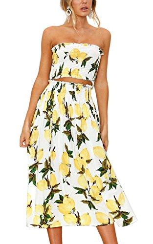 Angashion Women's Floral Crop Top Maxi Skirt Set 2 Piece Outfit Dress Lemon