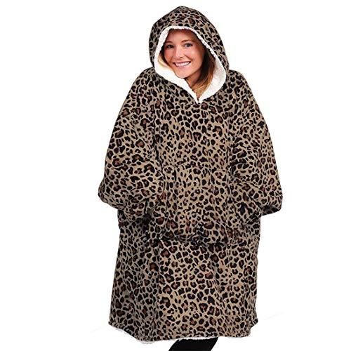 Oversized Manta Tamaño Usable con Capucha para Mujer Invierno, Suelta Impresión Doble Cara Franela Deportiva Lazy Manta con Mangas Y Gigante Bolsillo, Un Tamaño,Leopardo