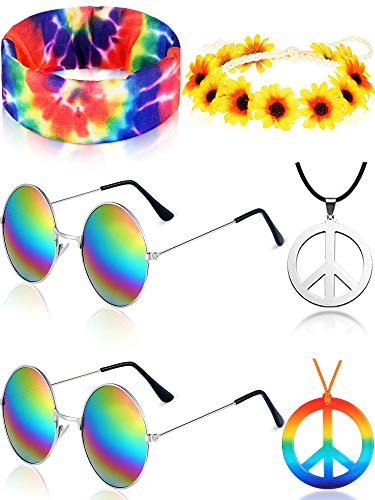 Hippie Costume Set, Includes 2 Pieces Hippie Sunglasses, 2 Pieces Peace Sign Necklace and 2 Pieces Hippie Headband for 60s or 70s Hippie Dressing Accessories (Style Set 1)