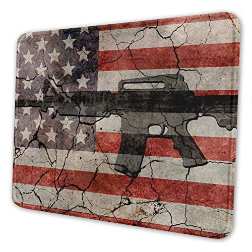 American Flag Gun Gaming Mouse Pad Mousepad with Stitched Edges, Keyboard Pads Mat for Gamer Computer Office Home 10 X 12 Inch