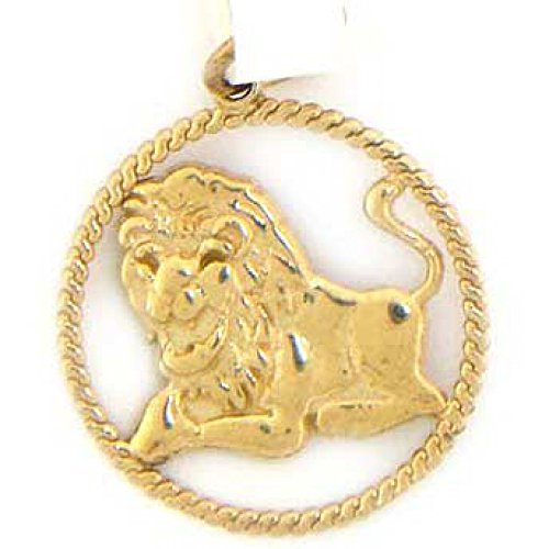 Jewelry Liquidation 14k Solid Yellow Gold Leo Zodiac Charm Pendant