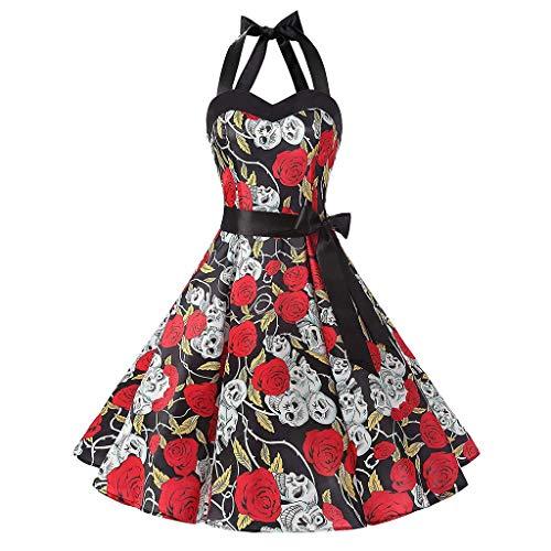 ❤ Inawayls❤ 1950er Vintage Kleider Damen Rockabilly Cocktailkleid Neckholder 50er Retro Blumen Petticoat Faltenrock Cocktail Festliche Kleider