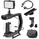 Movo + Sevenoak Micrig U Grip Handle with Built-in Stereo Microphone, LED Light, and Camera Accessories - Stabilizer for Camera, Smartphones, and GoPro Action Cameras