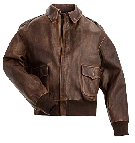 Fashion_First Mens A2 Flight Pilot Vintage Air Force Aviator Cockpit Bomber Leather Jacket XL Brown