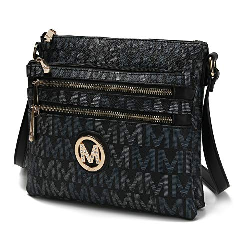 Bolsa transversal MKF para mulheres – Bolso de couro PU Bolso Bolso Bolsa multicompartimento Bolsa carteiro – Alça de ombro, Ellen Black, Small