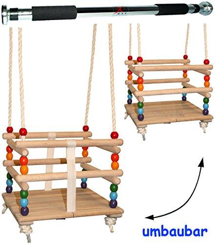 alles-meine.de GmbH 2 TLG. Set _ Babyschaukel / Kinderschaukel - mit abnehmbaren Gurt + Türreck - Leichter Einstieg ! - Gitterschaukel / Schaukel aus Holz - mitwachsend & verstel..