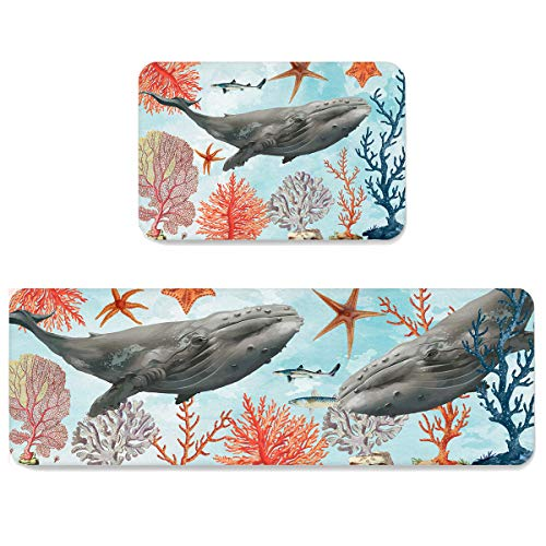Futuregrace Doormats with Non-Slip Rubber Backing Absorbent Oil Proof Kitchen Rug, The Ocean Life with Fish Whale Starfish 2pcs Kitchen Mats Sets for Entrance Home Decoration, 19.7x31.5in+19.7x63in